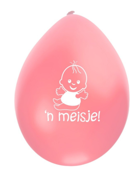 Ballonnen Geboorte 'n Meisje 8 Stuks