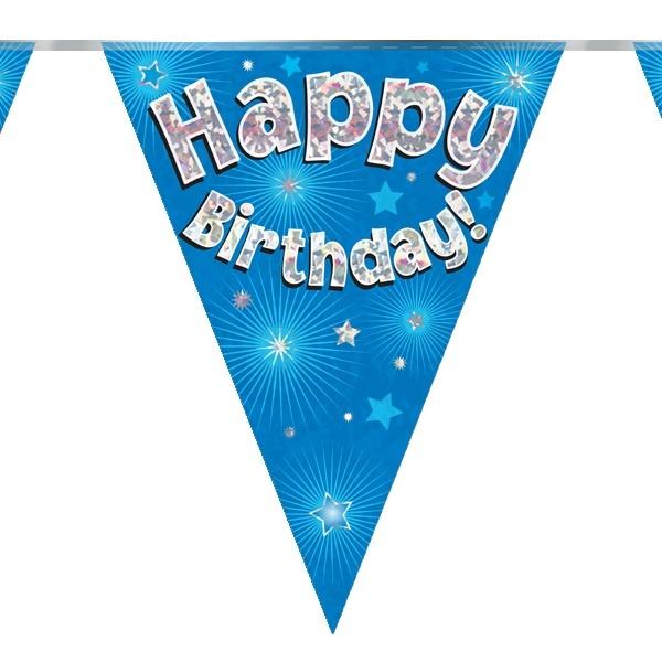 Vlaggenlijn Happy Birthday Blue Holografix