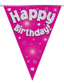 Vlaggenlijn Happy birthday Pink Holografix