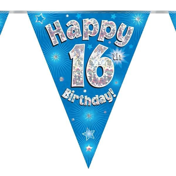 Vlaggenlijn 16th Birthday Blue Holografix