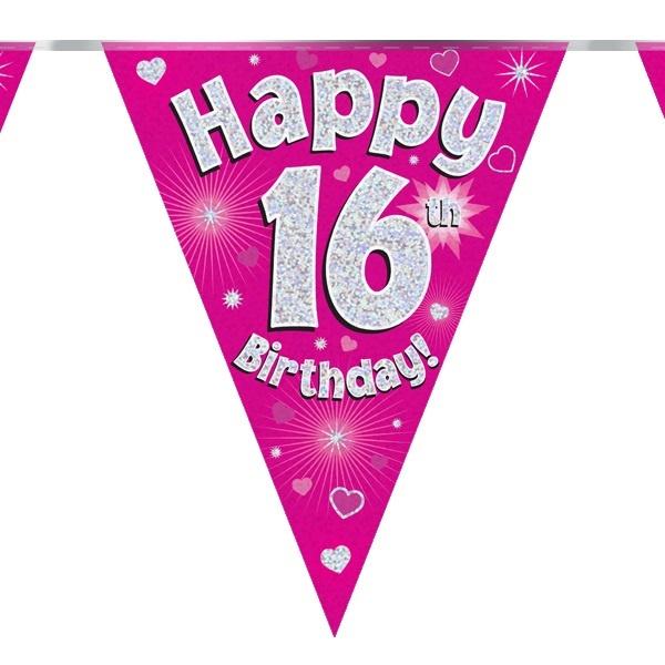 Vlaggenlijn 16th Birthday Pink Holografix