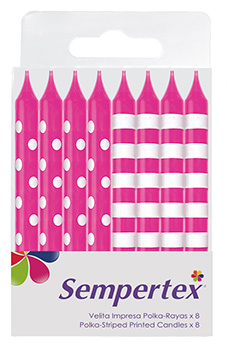 Kaarsjes Dots/Stripes Roze 8 Stuks