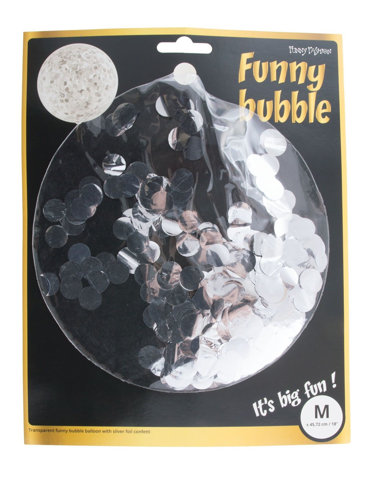 Bubbel Ballon Met Confetti Zilver
