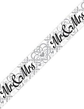 Banner Mr & Mrs Foil Zilver