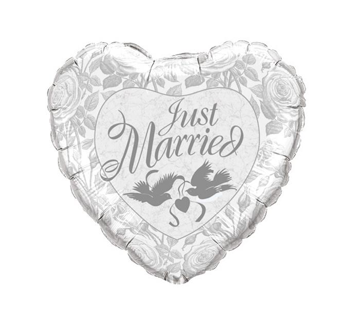 Just Married Zilver Huwelijk  Folieballon 36inch