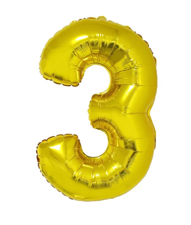 Cijfer 3 Folieballon Goud 40inch