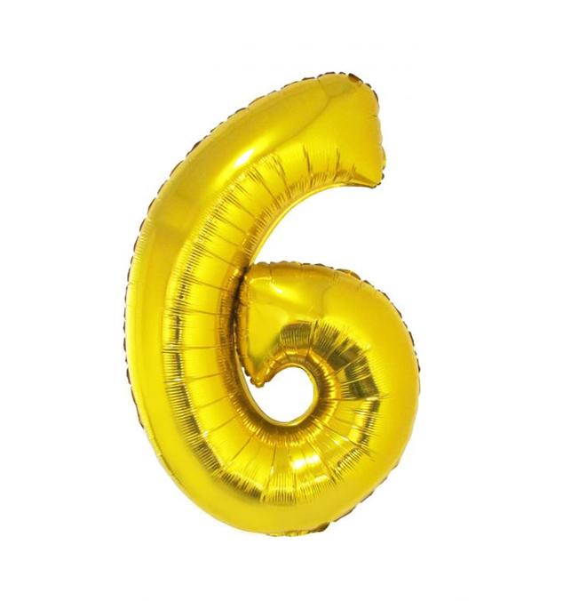Cijfer 6 Folieballon Goud 40inch