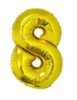 Cijfer 8  Folieballon Goud 40inch