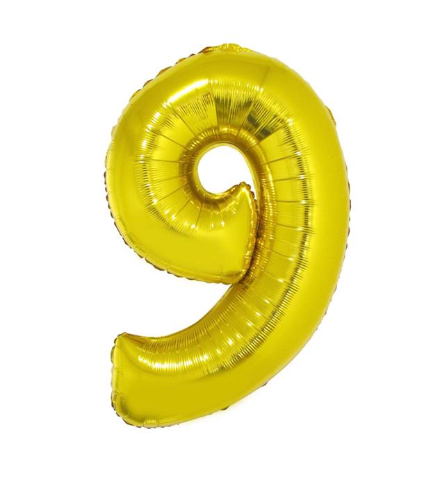 Cijfer 9  Folieballon Goud 40inch