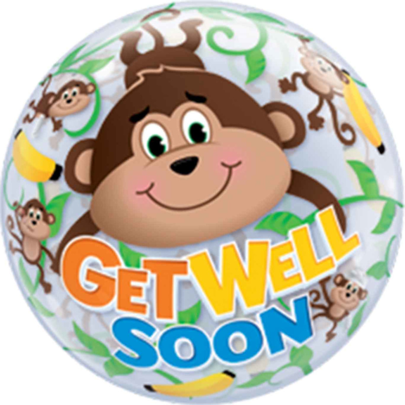 Bubble Ballon Get Well Soon Aapjes!  -  56cm
