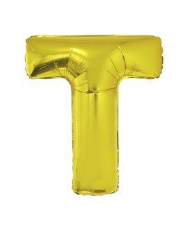 Letter T Folieballon Goud 40inch