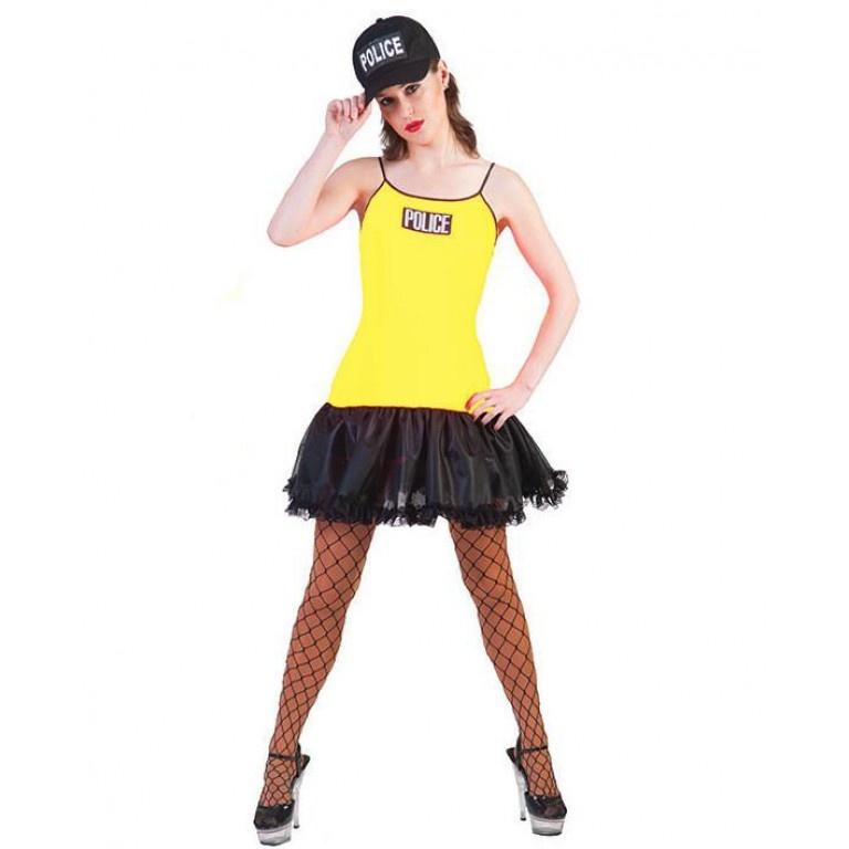 Politievrouw Neon Geel Kostuum