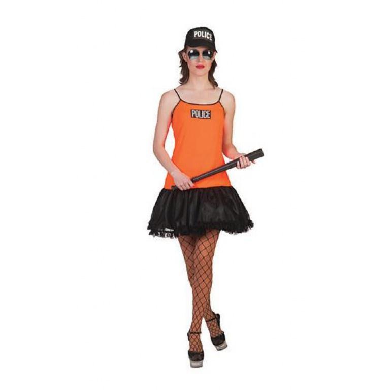 Politievrouw Neon Oranje Kostuum