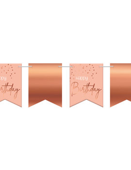 Happy Birthday Vlagjes| Rosé/Roze  Elegant