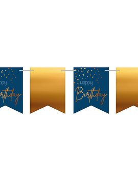 Happy Birthday Vlagjes| Goud/Blauw Elegant