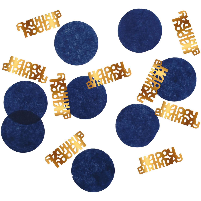 Happy Birthday Tafelconfetti| Goud/Blauw Elegant