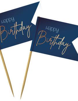 Prikkertjes Happy Birthday | Goud/Blauw Elegant