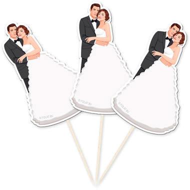 Prikkertjes Huwelijk | Bruid & Bruidegom | 10  Stuks