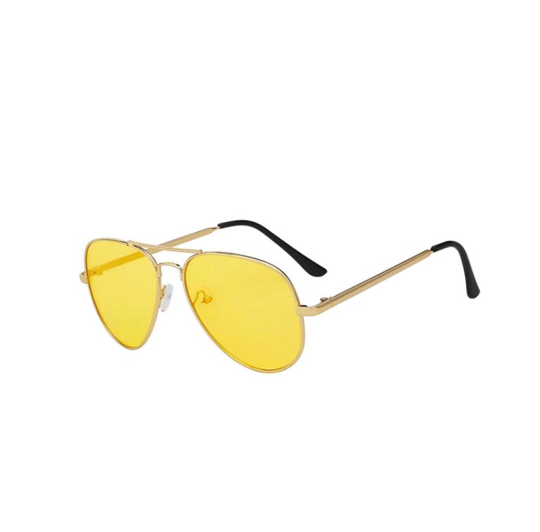 Bril Geel Met Gouden Rand   Mirror Glasses