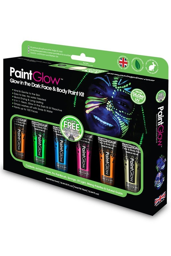 Glow in The Dark UV Face & Bodypaint Schminkbox