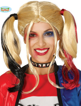 Harlequin Girl | Pruik Blond |Rood & Zwart