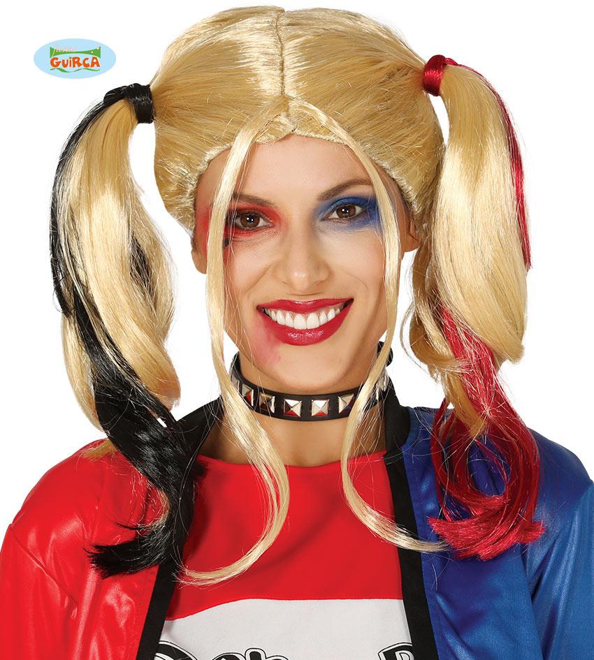 Harlequin Girl   Pruik Blond  Rood & Zwart