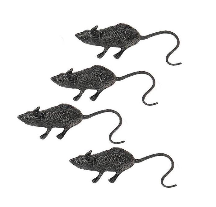 Nep Ratten Zwart   8 Stuks