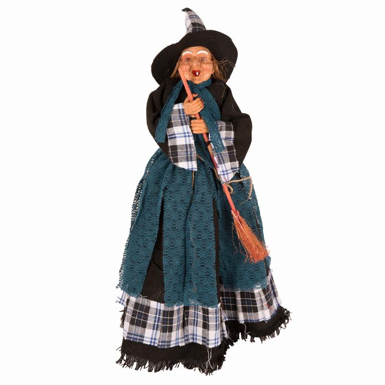 Heks Staand 50cm | Halloweendecoratie | Blauw