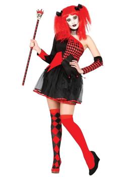 Harlequin Red/ Black Kostuum |  Dameskostuum