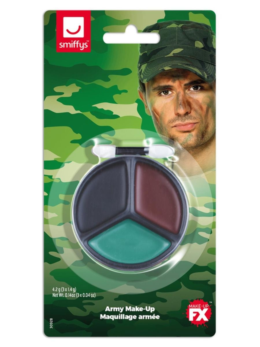 Camouflage Schminkset   3 Kleuren + Kwastje