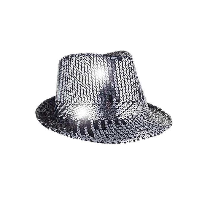 Glitterhoed Paillet Al Capone   Zilver