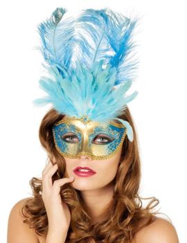 Venetiaans Masker Blauw + Pluimen