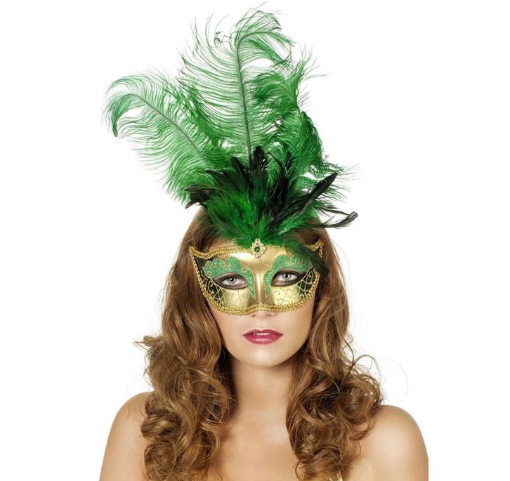 Venetiaans Masker Groen + Pluimen