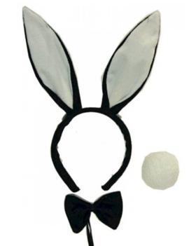 Playboy Bunny Set | Oortjes/ Staart / Strik