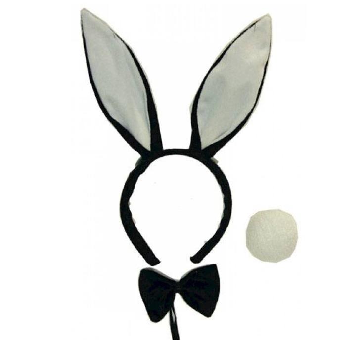Playboy Bunny Set   Oortjes/ Staart / Strik
