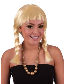 Pruik Heidi | Blond Vlechtjes