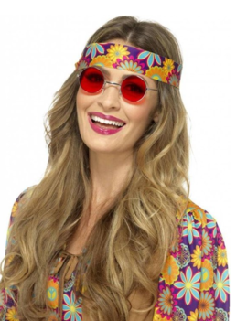 Hippie Bril | Flower Power Glasses Rood