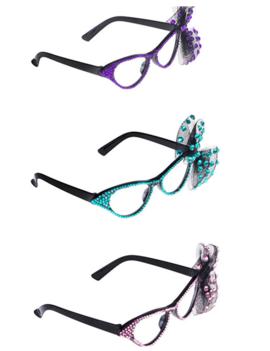 Vlinderbril Met Strikje | Roze | Paars | Blauw
