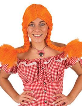 Pipi Langkous Pruik | Oranje Met vlechtjes