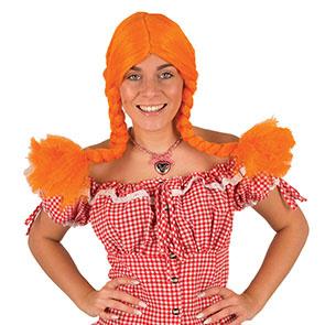 Pipi Langkous Pruik   Oranje Met vlechtjes