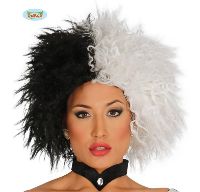 Pruik Cruela  Luxe | Zwart/Wit Krullen