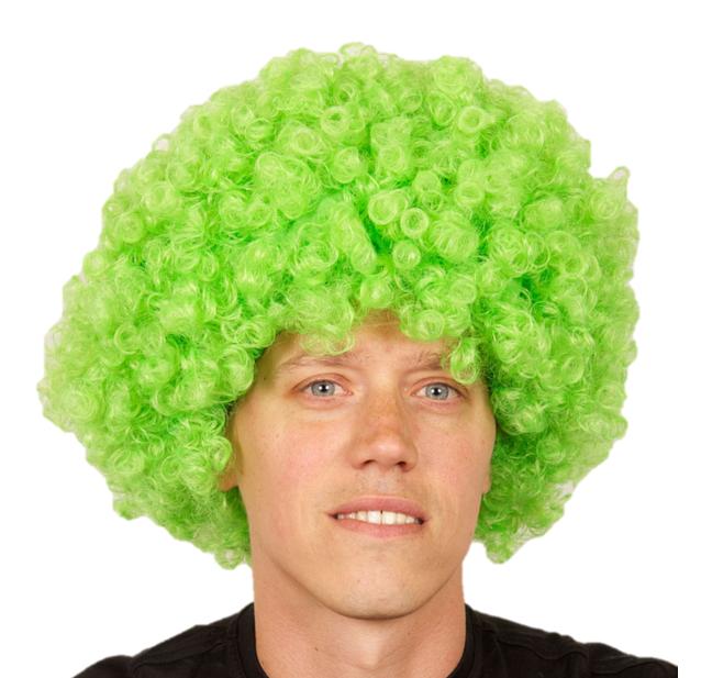 Pruik Krullen Groen   Disco/ Clown