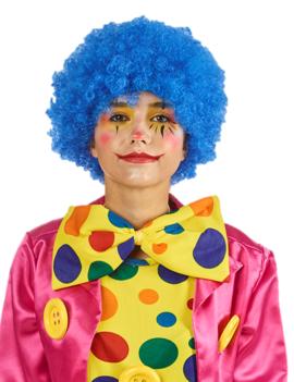 Pruik Krullen Blauw |  Clown