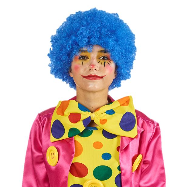 Pruik Krullen Blauw    Clown