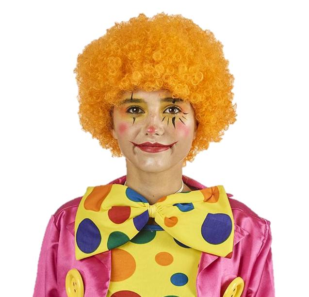 Pruik Krullen Oranje | Clown