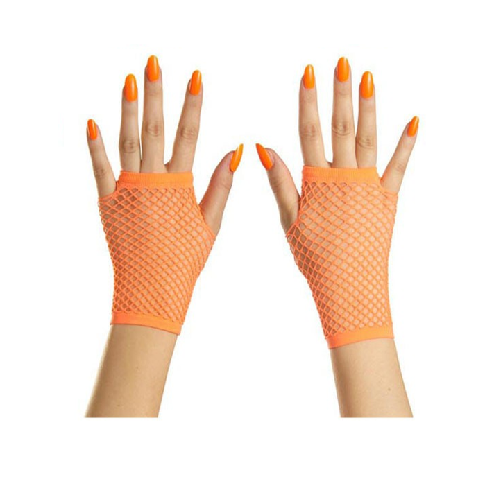 Korte Vingerloze Handschoenen | Neon Oranje | Nethandschoenen