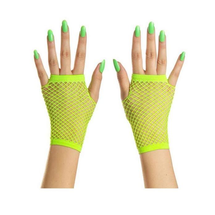 Korte Vingerloze Handschoenen   Neon Groen   Nethandschoenen
