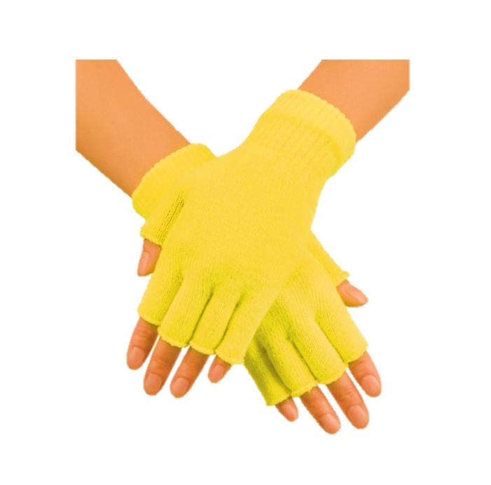 Korte Vingerloze Handschoenen   Geel