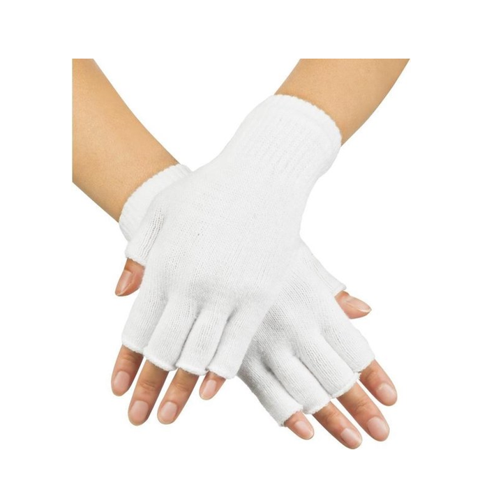 Korte Vingerloze Handschoenen   Wit