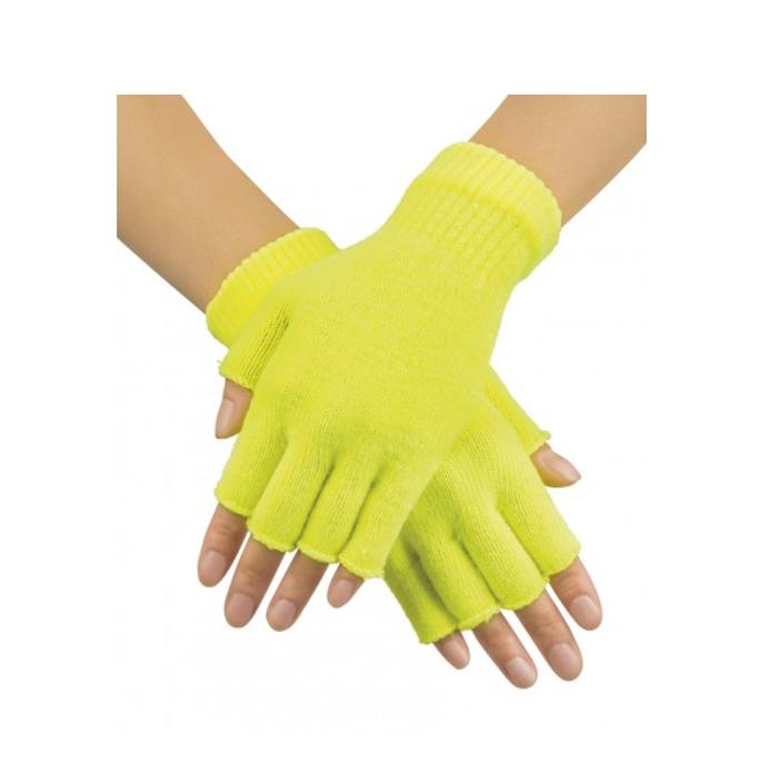 Korte Vingerloze Handschoenen | Fluo Geel